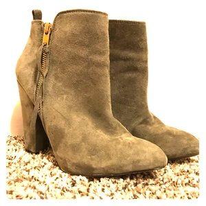 simple grey suede booties